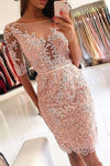 Sheath Pink Lace Appliques Beads Homecoming Dresses with Half Sleeve, Prom Dresses PW833