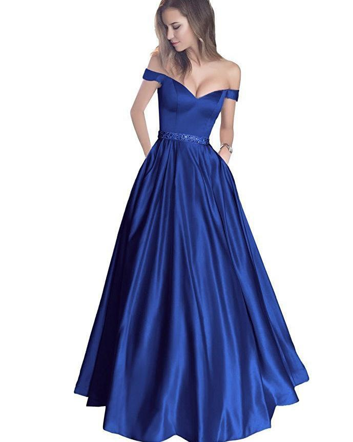 Simple A-Line Off the Shoulder Blue Long Sweetheart Prom Dress with Pockets WK623