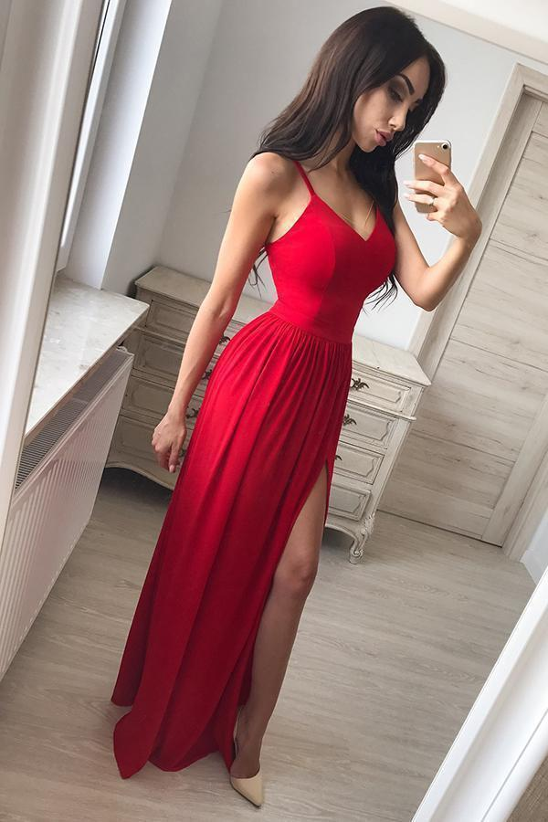 Simple A line Red Spaghetti Straps Chiffon Prom Dresses V Neck Side Slit Evening Dress WK537