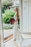 Simple Deep V Neck Sweep Train Mermaid Satin Wedding Dress Long Bridal Gowns WK996