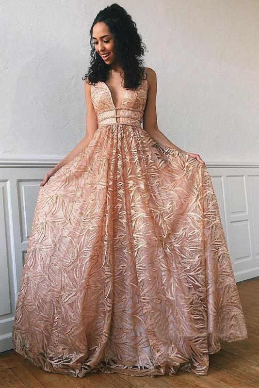 Simple Lace Open Back Evening Dresses, A Line Deep V Neck Long Prom Dresses uk PW569