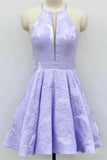 Simple Lilac Jacquard Floral Homecoming Dresses with Pocket Halter Graduation Dresses WK949