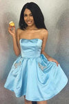 Simple Strapless Cheap Beaded Blue Homecoming Dresses with Pockets Cocktail Dresses H1172