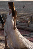 Spaghetti Straps Lace Appliques V Neck Criss Cross Wedding Dresses Beach Wedding Gowns W1097