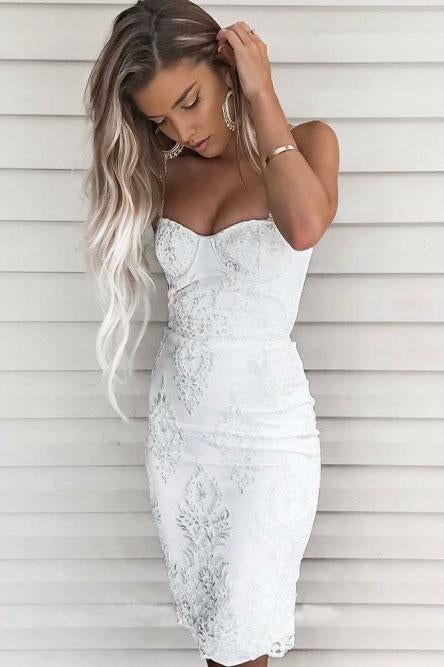 Spaghetti Straps Sheath Lace Appliques Short Sweet 16 Dress Homecoming Dresses H1239