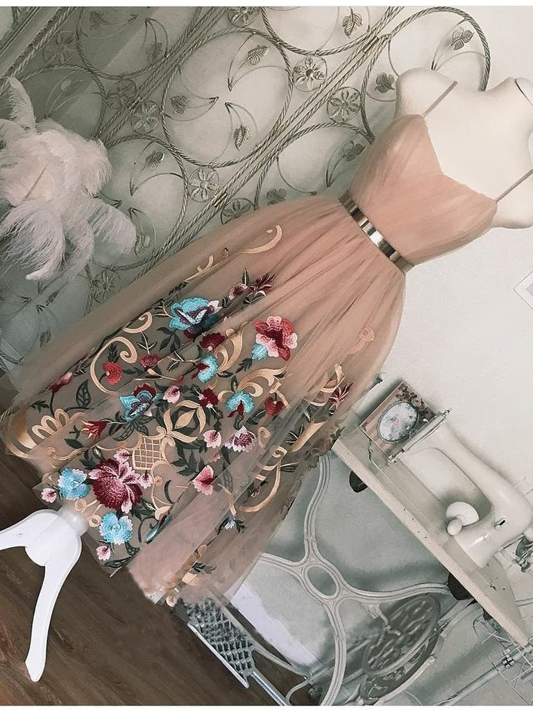 Spaghetti Straps Tea Length Short Prom Dress Dusty Pink Cute Homecoming Dresses H1020