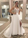 A Line V Neck Open Back Chiffon Ivory Lace Long Lace up Wedding Dresses with Appliques WK968