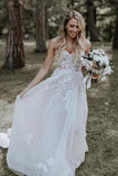 Strapless Beads Tulle Ivory Wedding Dresses V Neck Lace Appliques Beach Wedding Gowns W1043