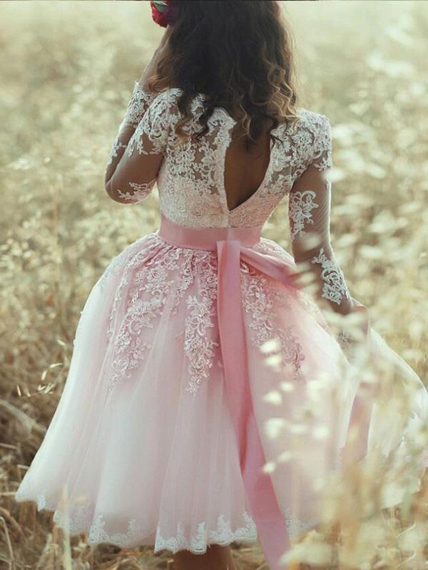 A-Line Pink Long Sleeves Sweetheart Lace Tulle Short Mini Homecoming Dresses WK575