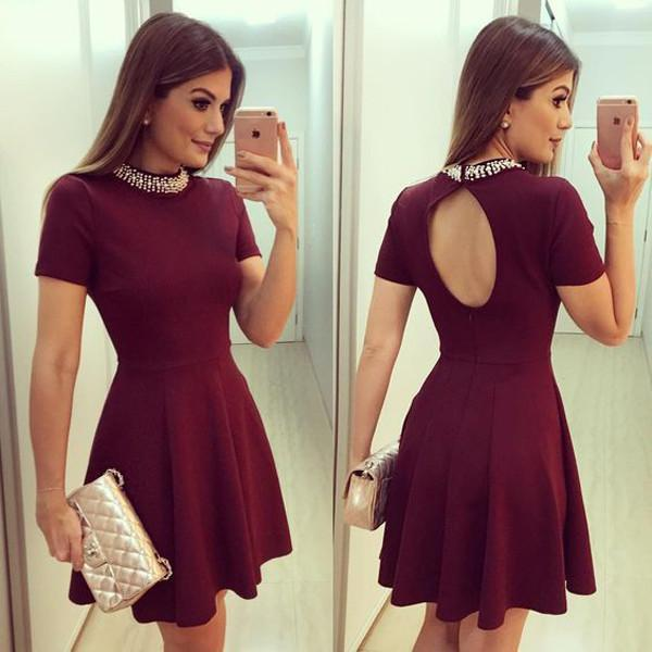Cute Burgundy High Neck Short Sleeve Keyhole Back Beading Cheap Homecoming Dresses WK940