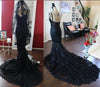 Charming Black Lace Spaghetti Strap Sweetheart Backless Mermaid Sweep Train Evening Dresses WK249