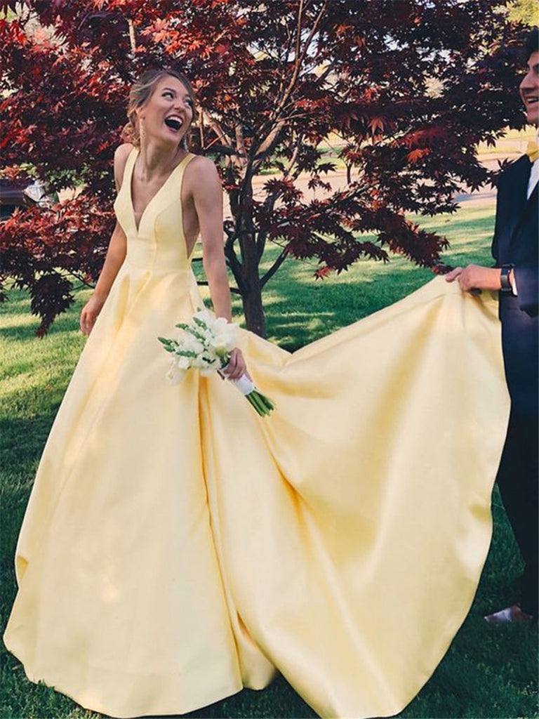 A Line Yellow V Neck Prom Dresses Satin Backless Lace up Long Evening Dresses WK626