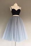 Two Pieces Black and Silver Short Tulle Sweetheart Spaghetti Strap Homecoming Dress WK200