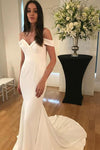 Unique Spaghetti Straps Sweetheart Ivory Mermaid Wedding Dress Long Bridal Dress W1000