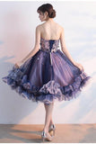 Unique Strapless Sweetheart Purple Sleeveless Homecoming Dresses with Flowers H1044