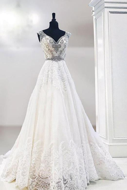 Unique V Neck Cap Sleeve Ivory Lace Beads Wedding Dresses, Beach Wedding Gowns PW997