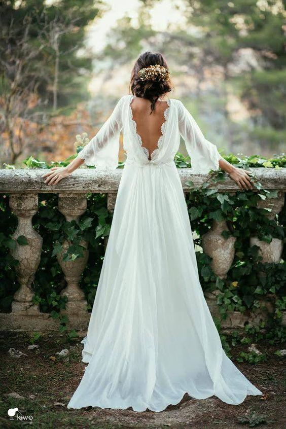 Chiffon Elegant Sexy Long Sleeves and Flirty P-a-boo Back Wedding Dress WK67
