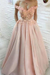 A Line Hand-Made Flower Long Off the Shoulder Sweetheart Prom Dresses with Pockets WK256