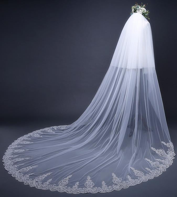 Cathedral Tulle Lace Ivory Wedding Veil Bridal Veil Wedding Veil WK288