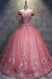 Ball Gown Off-the-Shoulder Watermelon Tulle Sweetheart Cheap Wedding Dresses with Appliques WK271