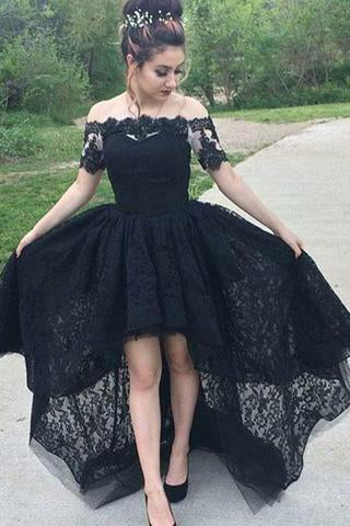 Vintage A-Line Off the Shoulder Black Lace High Low Short Sleeve Prom Homecoming Dresses WK80