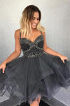 Cute Newest Spaghetti Straps Sweetheart Sleeveless Beads Organza Homecoming Dresses WK910