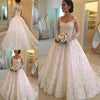 A Line Lace Applique Long Sleeve Sweetheart Covered Button Wedding Dresses WK331