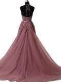 A Line Halter Lace Appliqued See-through Long Beads Lace up Tulle Backless Prom Dresses WK632