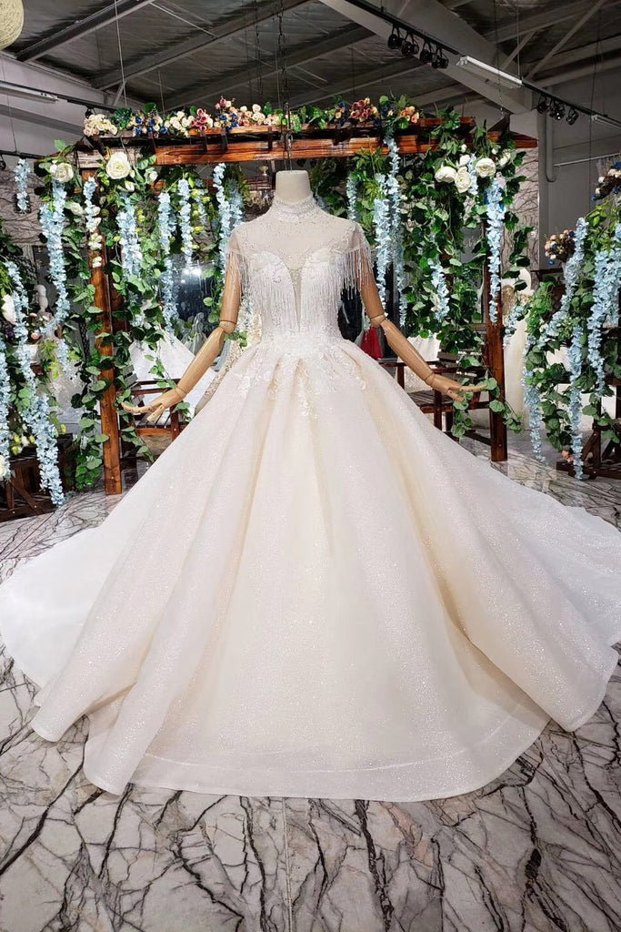 Ball Gown Ivory High Neck Beads Lace Appliques Wedding Dresses, Bridal Dresses PW770