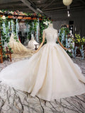 Ball Gown Ivory High Neck Beads Lace Appliques Wedding Dresses Bridal Dresses WK770