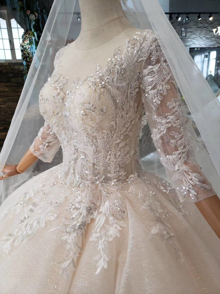 Princess Scoop Two Layers Ball Gown Wedding Dresses 3/4 Sleeves Wedding Gowns WK771