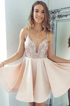 Sexy A-Line Spaghetti Straps V Neck Pearl Pink Short Homecoming Dress with Sequins WK881