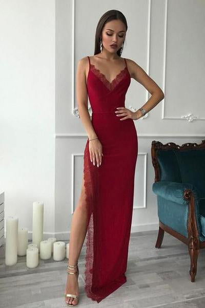 Burgundy Spaghetti Straps Side High Slit V Neck Satin Mermaid Long Prom Dresses WK311