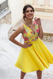 Yellow Floral Satin Illusion Back Daffodil V Neck Homecoming Dresses Short Cocktail Dresses H1338
