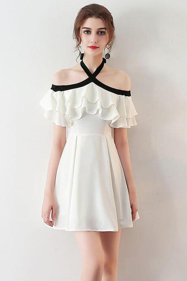 Chic Halter A Line Simple White Off the Shoulder Chiffon Cheap Short Homecoming Dress WK751