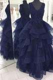 2020 Custom Made Navy Blue Appliques Beaded V-Neck High Quality Prom Dresses WK757