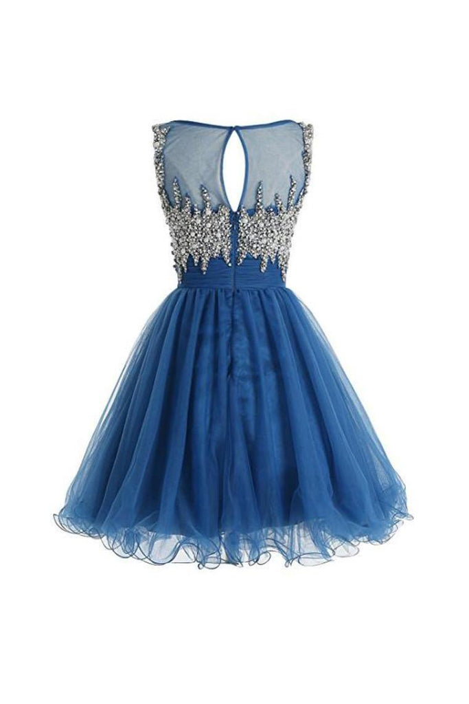 2019 Tulle Scoop Beaded Bodice Homecoming Dresses A Line Short/Mini