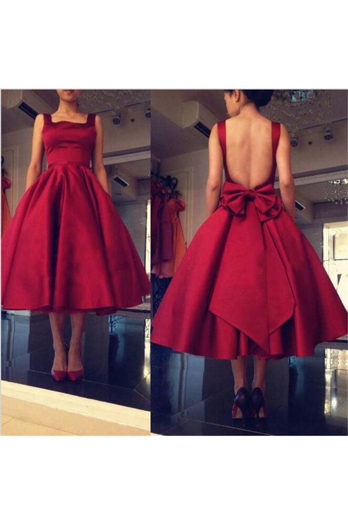 2019 Sexy Open Back Straps Prom Dresses Satin With Bow Knot Tea-Length