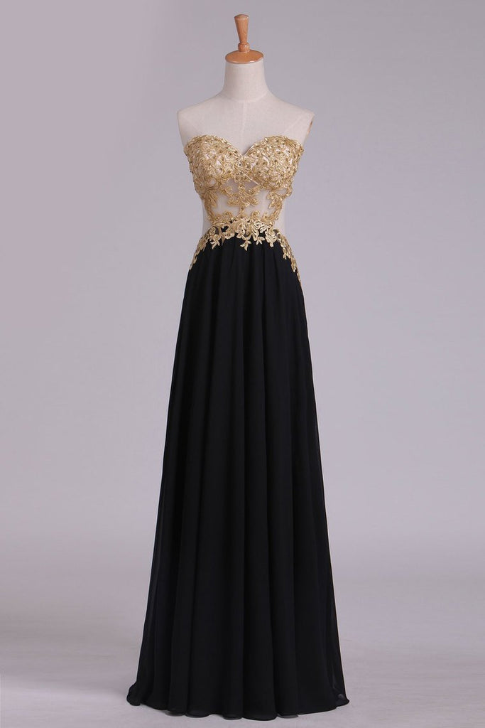 2019 Sweetheart Prom Dresses A Line Chiffon With Gold Applique Sweep Train