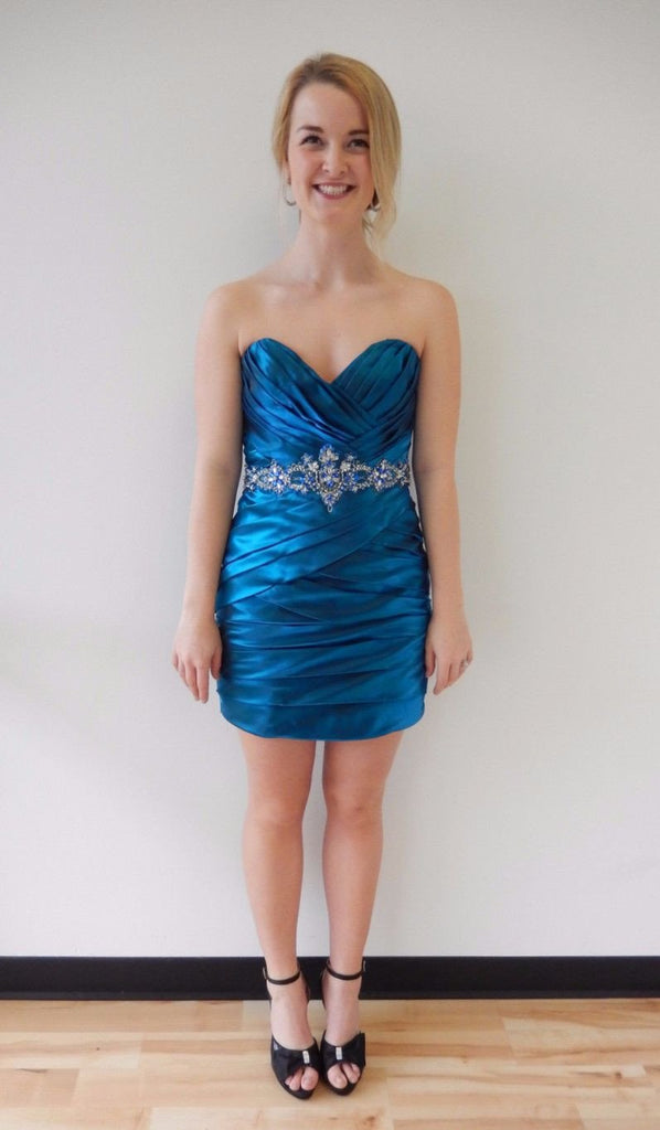 Sexy Satin Short Sweetheart Royal Blue Mermaid Strapless Pleat Homecoming Dresses WK797