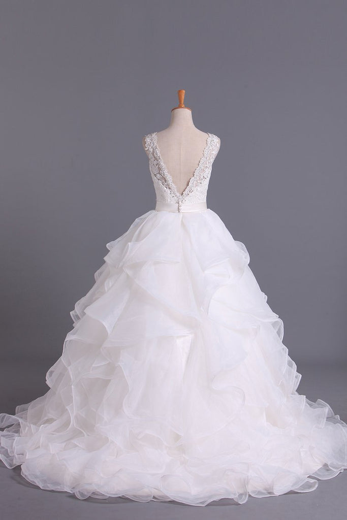 Hot Wedding Dresses V-Neck A Line Organza With Beading And Sash