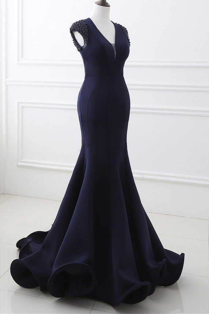 Mermaid V Neck Satin Evening Dresses With Beading Sweep Train