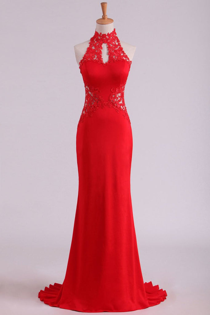 Red High Neck Open Back Prom Dresses With Applique Sweep Train Spandex