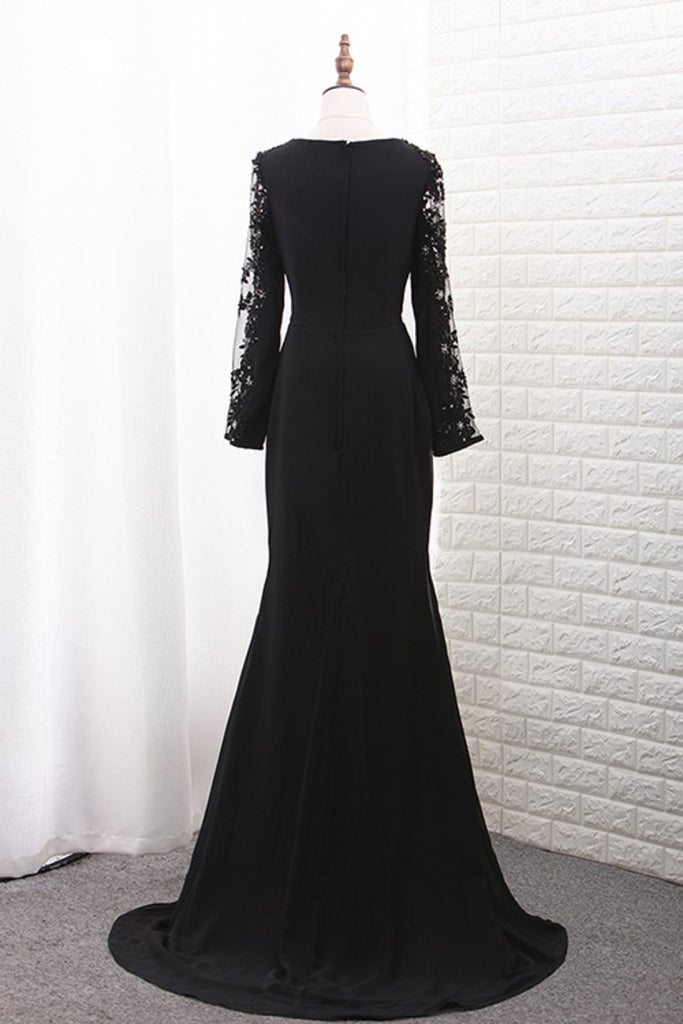2019 Scoop Long Sleeves Chiffon Mermaid Evening Dresses With Applique