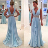 Charming A-Line Chiffon Long Backless Green Cap Sleeve V-Neck Floor-Length Prom Dresses WK39