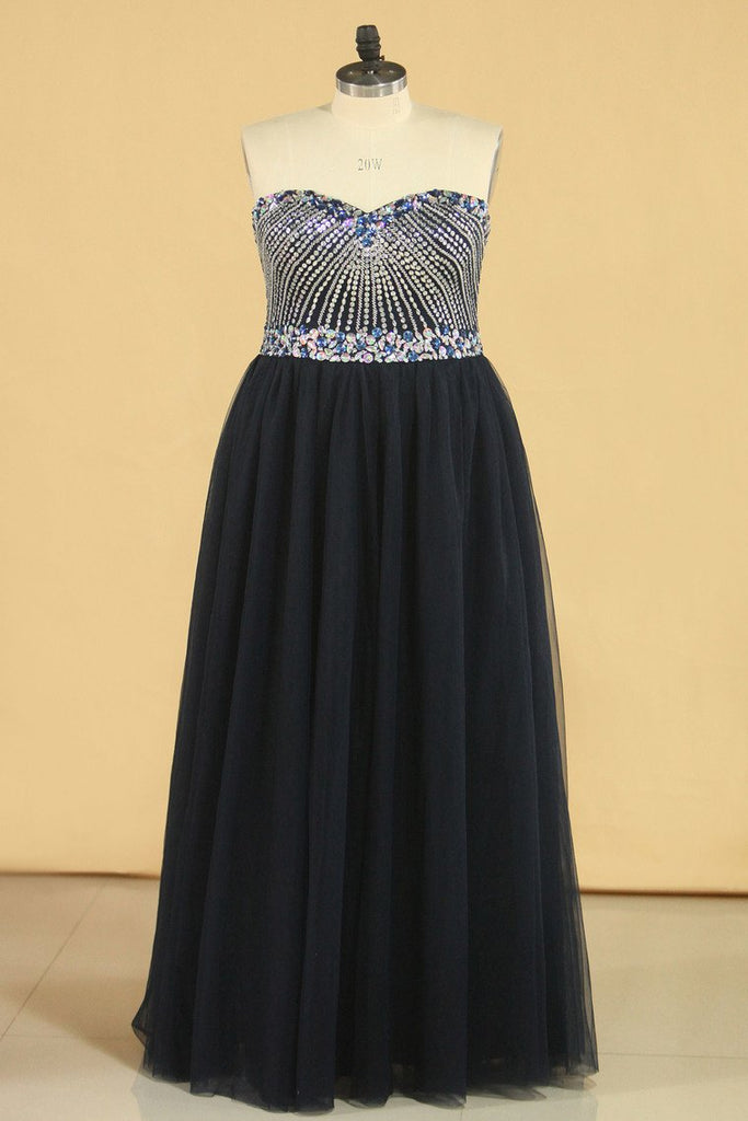 2019 Dark Navy A Line Prom Dresses Sweetheart Beaded Bodice Tulle Zipper Up
