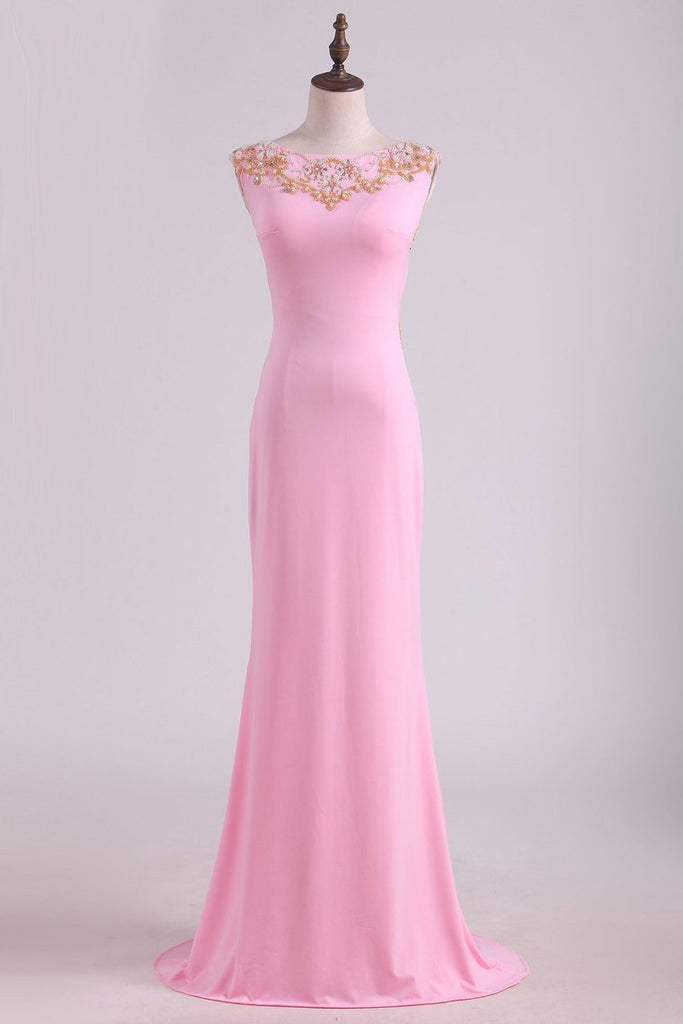 2019 Prom Dresses Sheath  Scoop Spandex With Beading Floor Length