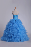 2019 Organza Sweetheart Quinceanera Dresses With Beads And Ruffles Ball Gown