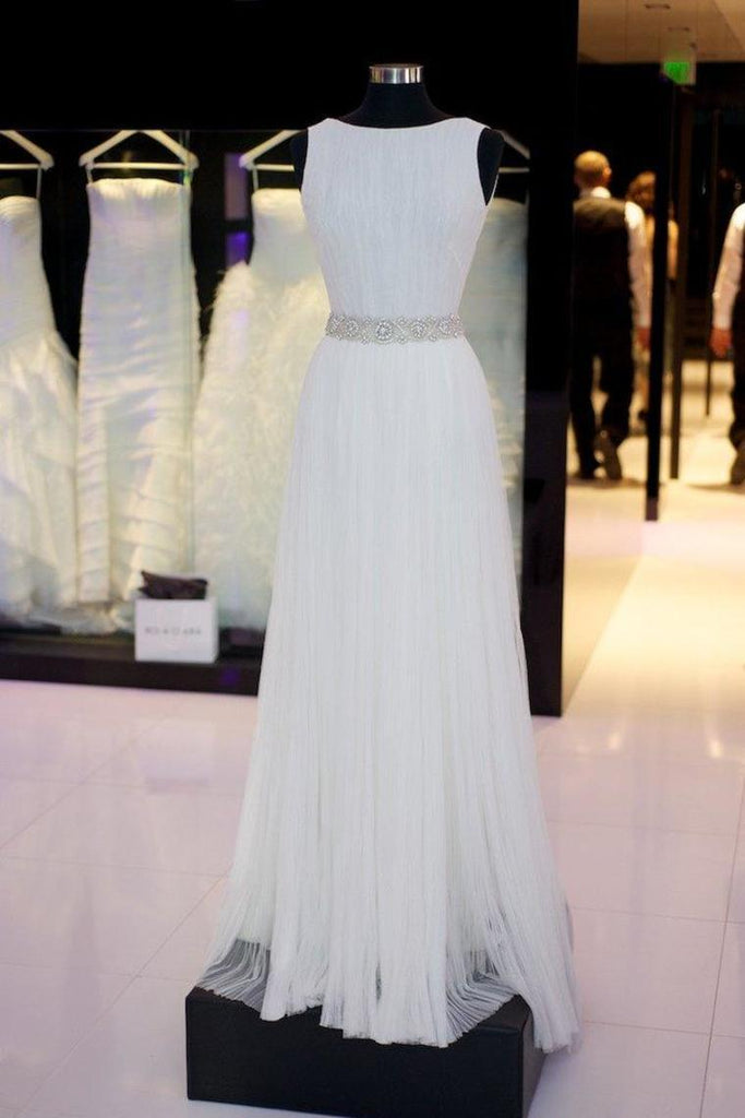 Elegant Simple Long Ivory Flowy Prom Dresses Beach Wedding Dresses