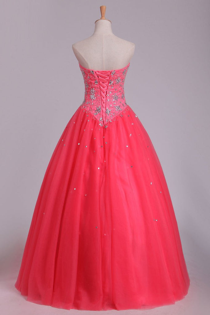 2019 Quinceanera Dresses Ball Gown Sweetheart Floor Length Beaded Bodice Tulle